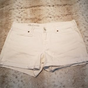 Madewell White Distressed Cuffed Jean Shorts